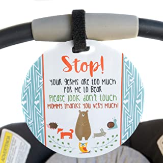 Woodlands Tag - Stop Your Germs Are Too Much For Me To Bear (Baby Safety No Touching Newborn, Baby Car Seat Tag, Baby Shower, Stroller Tag, Baby Preemie No Touching Car Seat Sign)