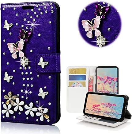 STENES LG Stylo 3 Case, LG Stylo 3 Plus Case - Stylish - 3D Handmade Bling Crystal S-Link Butterfly Floral Wallet Credit Card Slots Fold Media Stand Leather Cover Case - Dark Purple