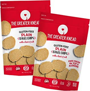 Greater Knead Gluten Free Bagel Chips - Plain, Vegan, non-GMO, Free of Wheat, Nuts, Soy, Peanuts, Tree Nuts (2 Bags)