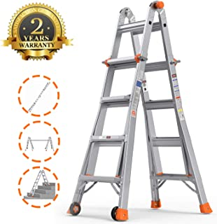 QOMOTOP Extension Ladder,17 Feet Multi-use Aluminum Telescoping Ladder, 300-Pound Duty Rating Step Ladder with Two Wheels, Ladder with Embedded Buckle and Non-Slip Bottom