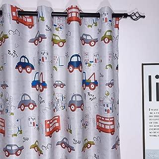 MYRU 2 Panels Set Cartoon Car Room Darkening Curtains for Childrens' Room (2 x 52 x 63 Inch)