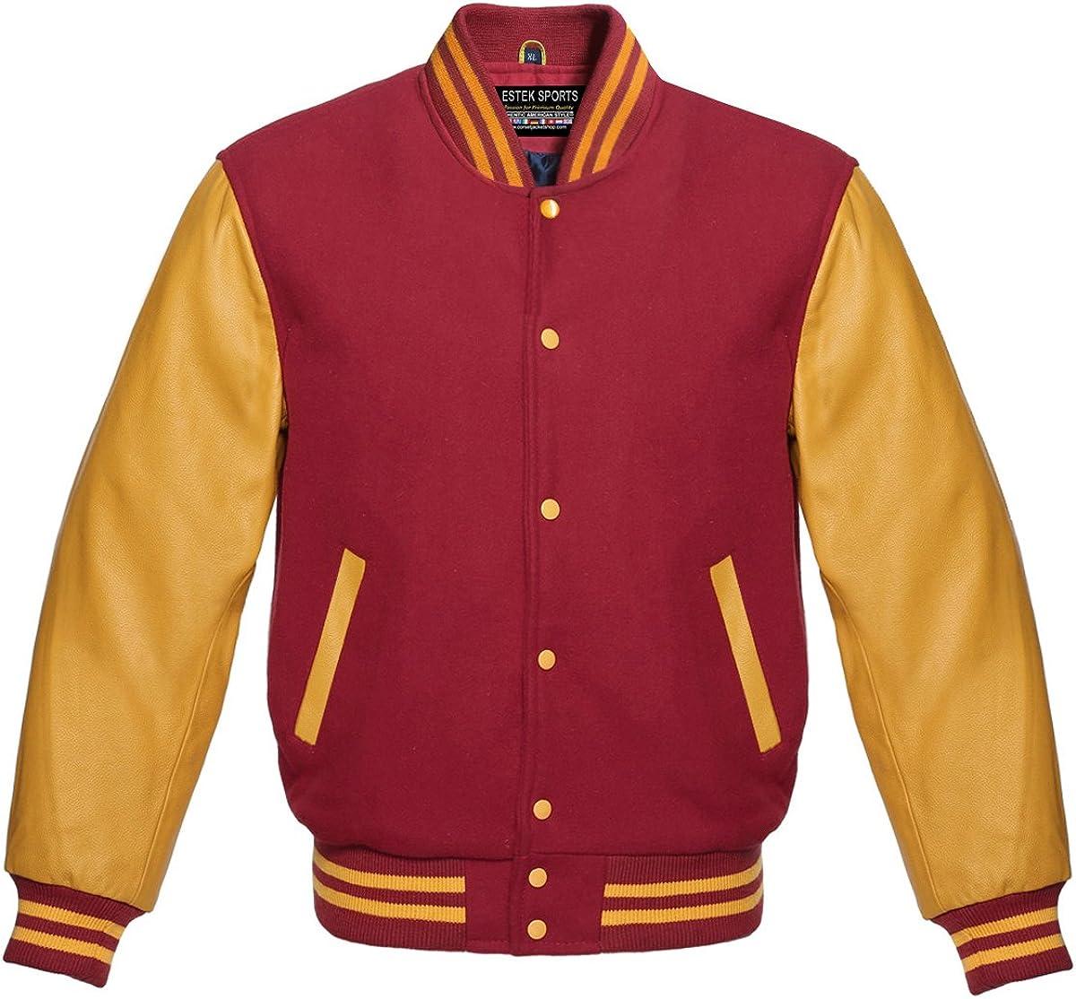 Authentic American Varsity Letterman Jacket Maroon Wool Blend & Genuine Gold Leather Sleeves College