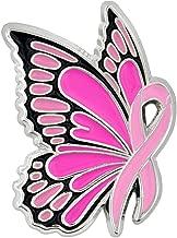 PinMart Breast Cancer Awareness Butterfly Pink Ribbon Enamel Lapel Pin