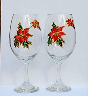 2 Red Poinsettia Stemmed Hand Painted Wine Glasses Set