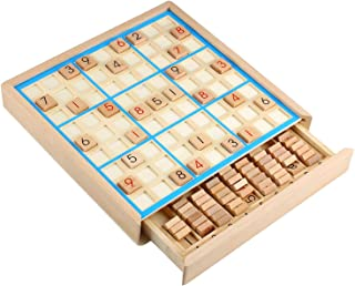 Mumoo Bear Wooden Sudoku Puzzles Board Game with Drawer - Math Brain Teaser Toys Educational Desktop Game Train Logical Th...