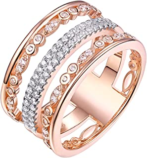 Newshe Wedding Bands للنساء خواتم الخفية روز الذهب الاسترليني الفضة مكعب زركونيا 9 مم الحجم 5-10