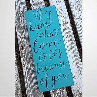 DONL9BAUER If I Know What Love Is Its Because Of You Cartel de madera rústico moderno estilo de granja decoración de pare...