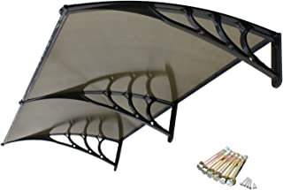 Smartxchoices Brown Deck Front Door Window Awning Cover Garden Patio Canopy Sun Shade Shelter PC Polycarbonate 6.5'×3.2' (Brown/Black Panel)