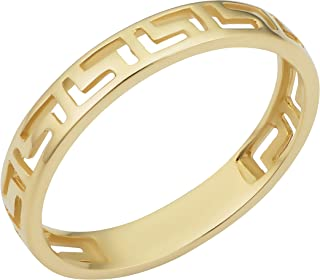 KoolJewelry Minimalist 14k Yellow Gold 3.8 mm Greek Key Band Ring