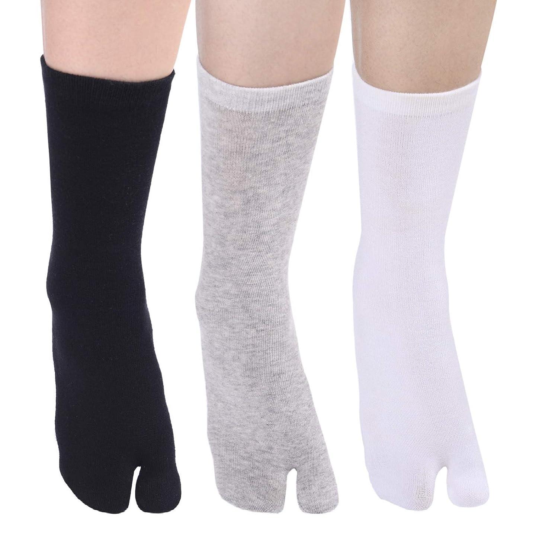 SOXBANG 3足組 男女兼用 足袋ソックス 綿 フリーサイズ 抗菌防臭 無地 2本指靴下