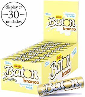 Garoto - Baton - White Cylinder Chocolate Bar - 16.93 Oz (PACK OF 30) | Barras Cilíndricass de Chocolate Branco 30x16g - 480g