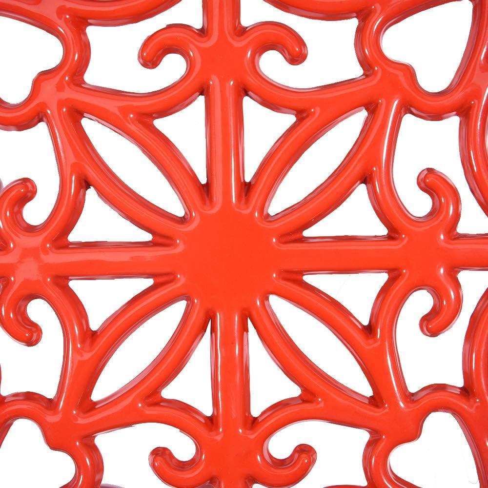 resistente al /óxido Salvamanteles redondos de hierro fundido esmaltado Sungmor decoraci/ón de cocina o mesa de comedor soportes de metal brillante para sartenes calientes o tetera
