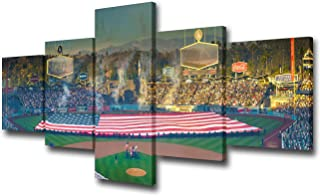 MLB Wall Decorations for Living Room Dodger Stadium, Los Angerles, California, USA Decor 5 Panel Canvas Pictures Baseball Artwork Painting Modern Home Decor Giclee Framed Gallery-Wrapped Ready to Hang