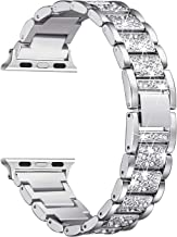 Secbolt Bling Bands Compatible with Apple Watch Band 42mm 44mm Women iWatch Series 5/4/3/2/1, Dressy Jewelry Metal Bracelet with Rhinestones, Silver