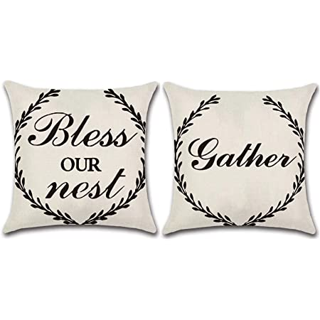 jojusis farmhouse outdoor pillow covers decorative waterproof pillowcases 16 x 16 inch set of 2 bless our nest gather