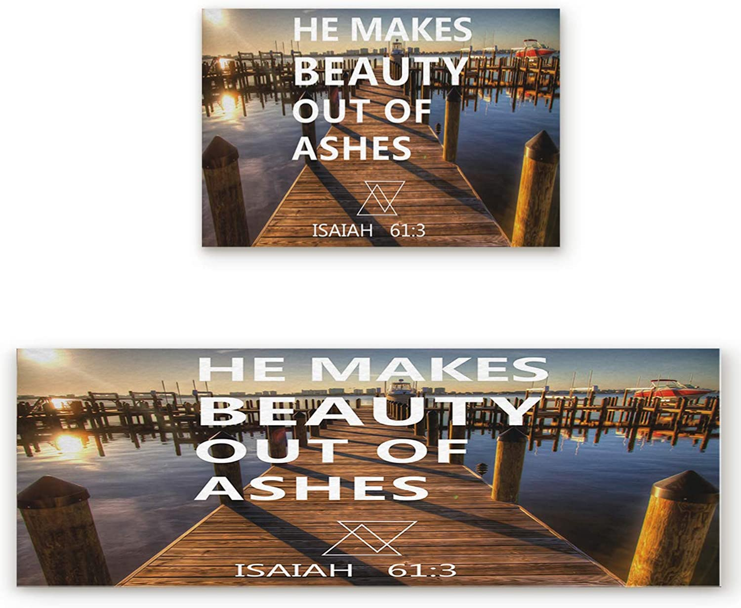 2 Piece Non-Slip Kitchen Bathroom Entrance Mat Absorbent Durable Floor Doormat Runner Rug Set - Seaside Boardwalk Yacht Sunny View Bible Proverb He Maks Beauty Out of Ashes