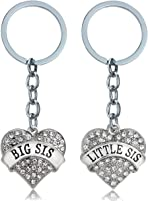 BESPMOSP 2PC Valentine's Day Heart Crystal Big Sis Little Sis Sisters Keychain Keyring Best Friends (Clear)
