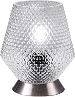 TeHenoo Modern Small Table Lamp, Night Lamp Accented Handblown Vase Glass Shade for Home Decorations, Living Room, Bedside, Nightstand, Coffee Table,Dining Room