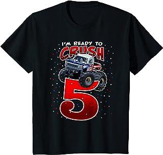Enfant Boys Im Ready To Crush 5 Monster Truck 5th Birthday T-Shirt