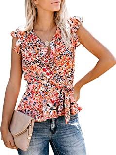 Ivay Womens Tank Tops Floral Wrap V Neck Knot Tie Summer Sleeveless Shirts Tops with Belt