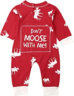 Baby 1 Piece Deer Print Christmas Romper Toddler Don't Moose with Me Letter Print Long Sleeve Jumpsuit Coveralls