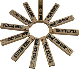 Forest & Twelfth Wooden Train Whistles - Fun Train Whistles for Kids - Ideal Kid's Party Favors - Train Themed Noisemakers - Pack of 12 Whistles