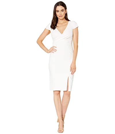 Adrianna Papell Riviera Sheath Dress with Draped Neckline and Seaming (Ivory) Women