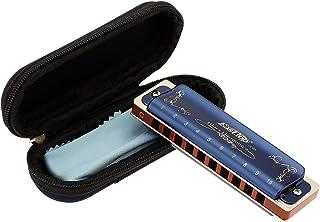 East Top Armónica diatónica para adultos en C 20 tonos T008K con estuche azul, Armónica diatónica de Blues en C, Armónica ...