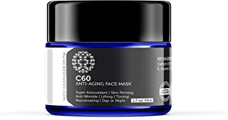 Carbon 60 Anti-Aging Face Mask 50ml with Green Tea, Aloe, Ubiquinone (CoQ 10), Vitamin E and Vitamin C for Men & Women Made with Organic Ingredients