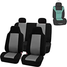 FH Group FB102114 Classic Full Set High Back Flat Cloth Car Seat Covers w. Gift, Gray/Black- Fit Most Car, Truck, SUV, or Van