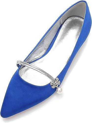 Eleoulck Chaussures de Mariage pour Femmes 5047-15 fermé Toe Bridal Buckle Satin Evening Faible Heels