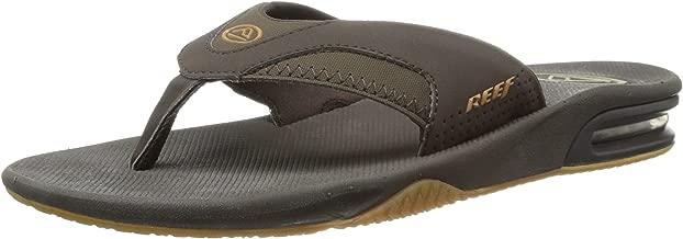 REEF Men's Sandals Leather Fanning   Bottle Opener Flip Flops for Men