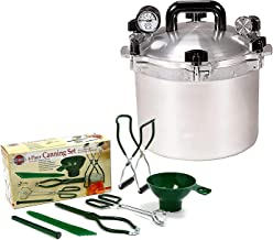 All American 15.5 QT Pressure Cooker Bundle with 1 Rack and Norpro Canning Essentials 6 Piece Box Set