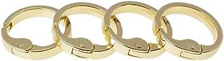 Bobeey 4pcs 7/8'' Round Carabiner Metal Spring Key Ring,Spring Snap Hooks Clip,Spring Keyring Buckle,Flat O Ring for Purses