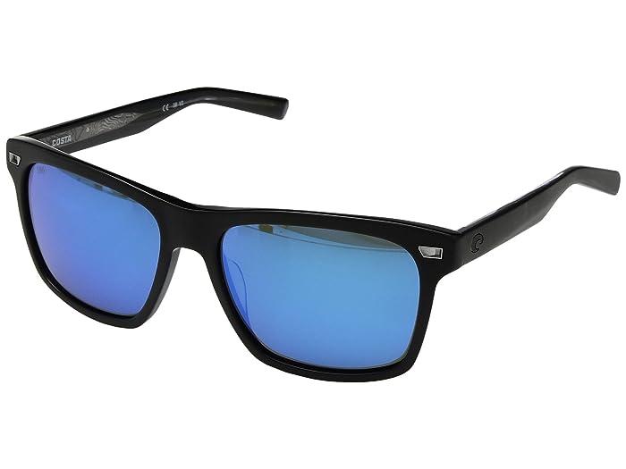 Costa  Aransas (Matte Black Frame/Blue Mirror 580G) Athletic Performance Sport Sunglasses