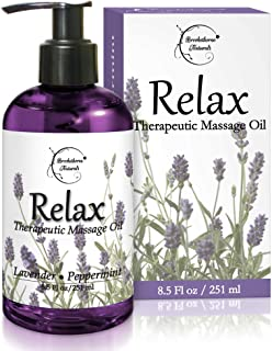 Relax Therapeutic Body Massage Oil - with Best Essential Oils for Sore Muscles & Stiffness – Lavender, Peppermint & Marjor...