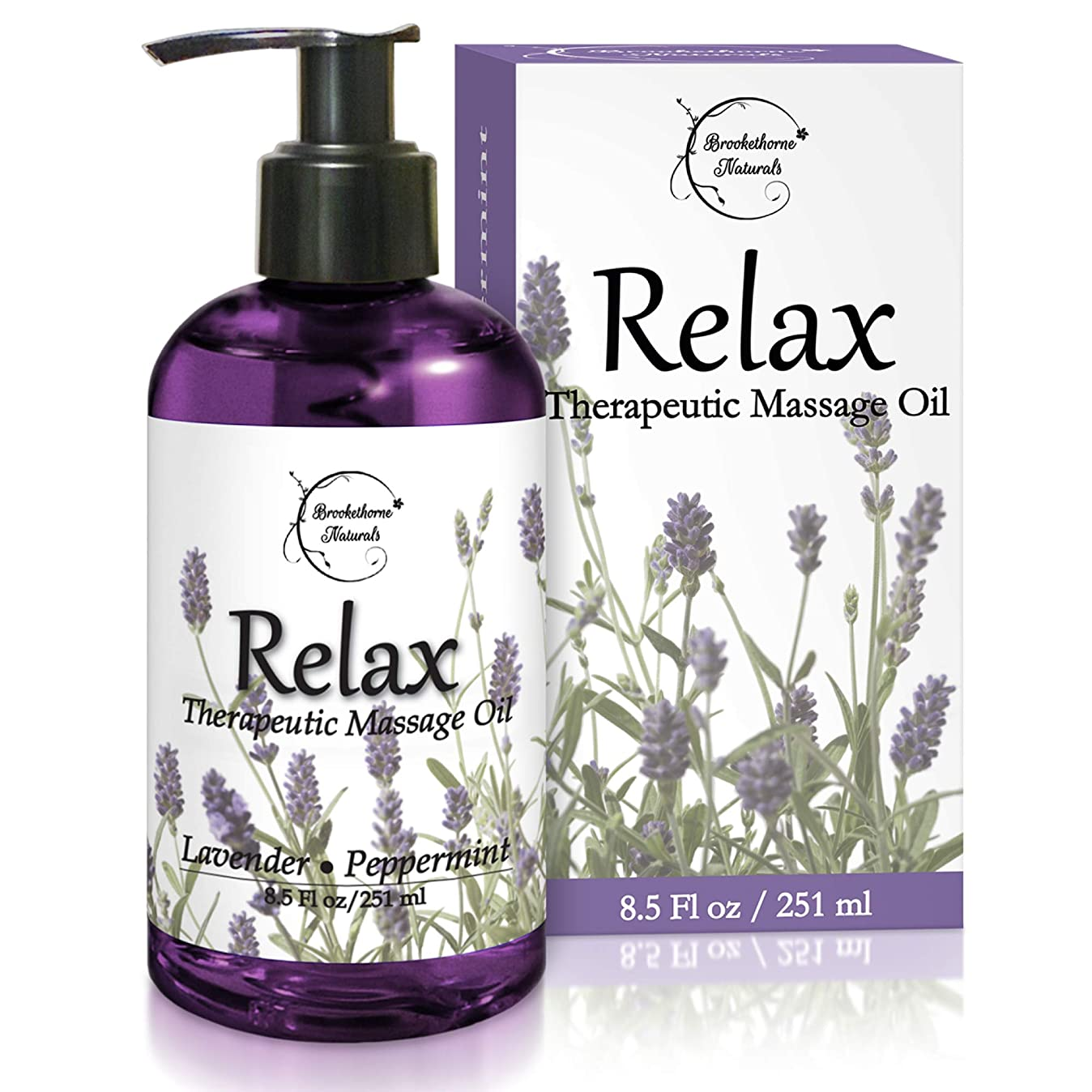 Relax Therapeutic Body Massage Oil - with Best Essential Oils for Sore Muscles & Stiffness – Lavender, Peppermint & Marjoram - All Natural - with Sweet Almond, Grapeseed & Jojoba Oil 8.5oz p0974334032