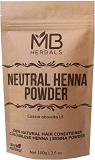 MB Herbals Neutral Henna Powder 100g | Senna Powder | Cassia obovata | Colorless Henna | Natural Hair Conditioner | For So...