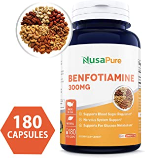Benfotiamine 300mg 180 Veggie Caps Non-GMO, Vegan, Promotes Healthy Blood Sugar