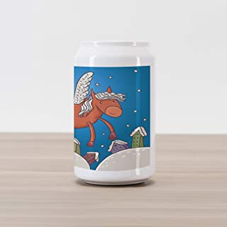 Ambesonne Horse Cola Can Shape Piggy Bank, Vector Illustration of Horse with Wings and The Buildings in Snowy Winter, Ceramic Cola Shaped Coin Box Money Bank for Cash Saving, Dark Orange and Blue