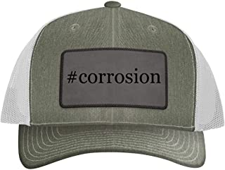 One Legging it Around #Corrosion - Leather Hashtag Grey Patch Engraved Trucker Hat