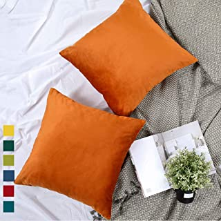 YINFUNG Rust Velvet Pillow Cover Burnt Orange Copper Boho Furry Throw Pillow Cases Mustard Yellow Toss Pillow Covers 18x18 Couch Sofa Bed Decorative Cushion Cover Thanksgiving Set of 2