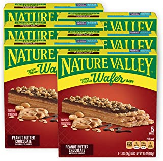 Nature Valley Crispy Creamy Wafer Bar, Peanut Butter Chocolate, 5 ct, 6.5 oz (Pack of 6)