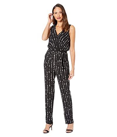 Vince Camuto Sleeveless Stripe Impressions Belted Jumpsuit (Rich Black) Women
