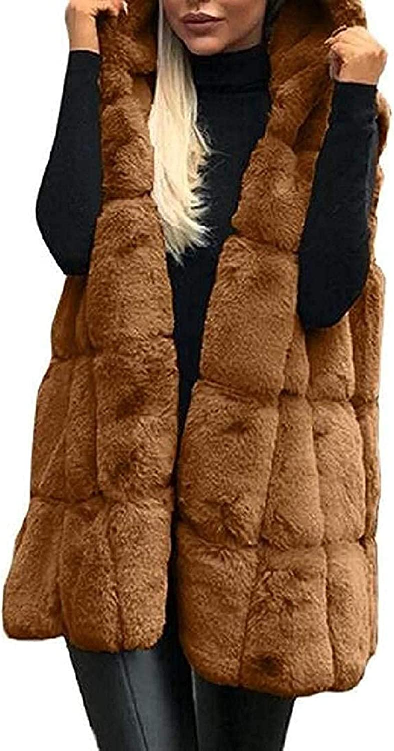 Womens Winter Coat Vest Hooded Faux Jacket J New arrival Sleeveless Fur Our shop OFFers the best service