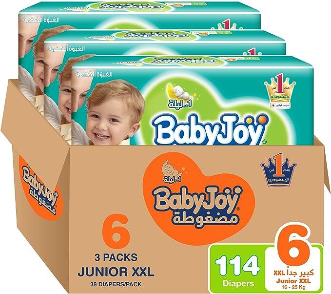 BabyJoy Compressed Diamond Pad, Size 6, Junior XXL, 16+ kg, Mega Box, 114 Diapers