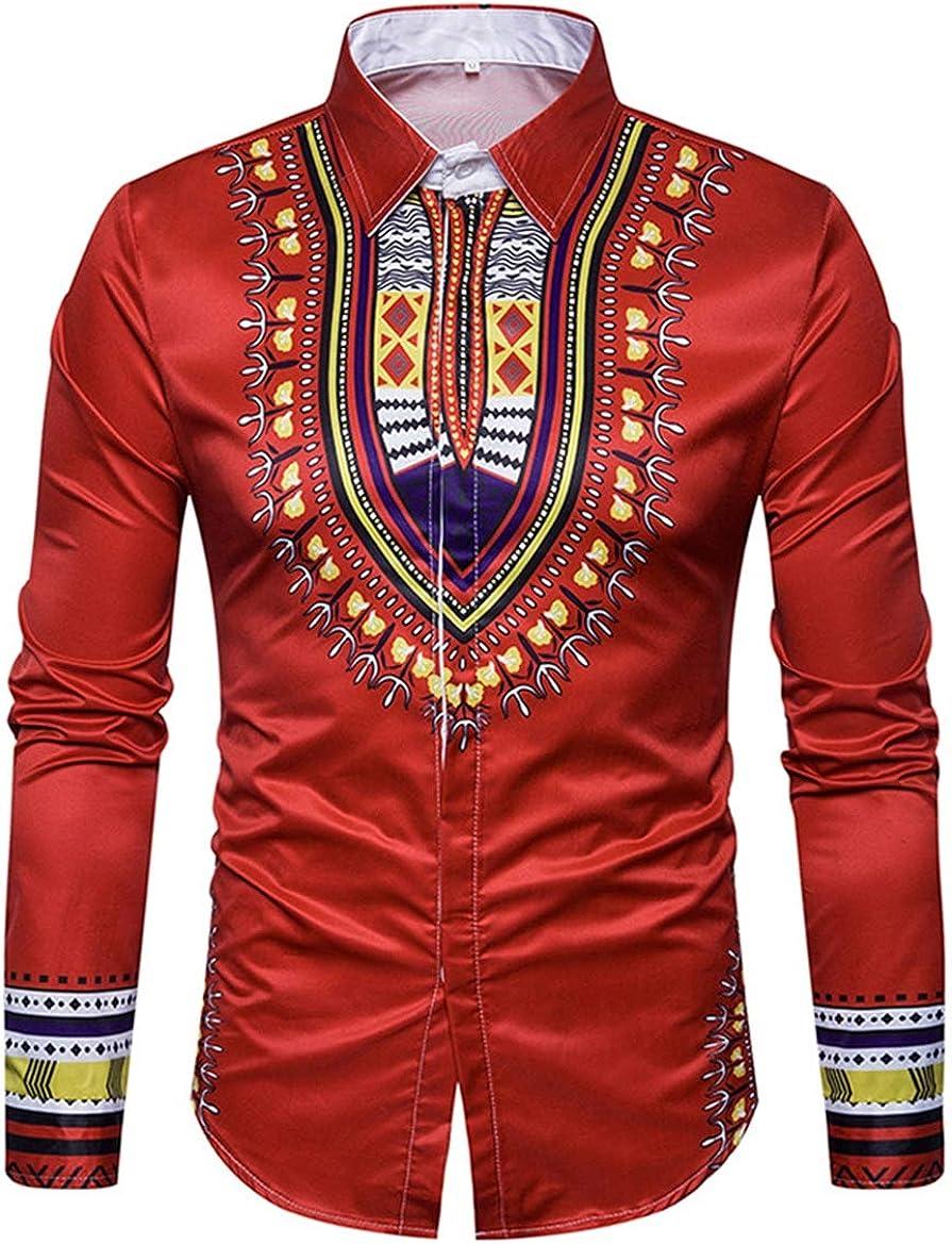 Men's Shirt Casual Fashion Classic Ethnic Print Long Sleeve Simple Wild Long Sleeve Shirt
