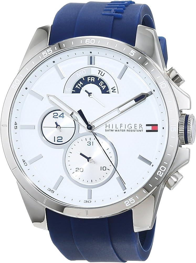 Tommy hilfiger,orologio,cronografo per donna,in acciaio inossidabile e cinturino in silicone 1791349