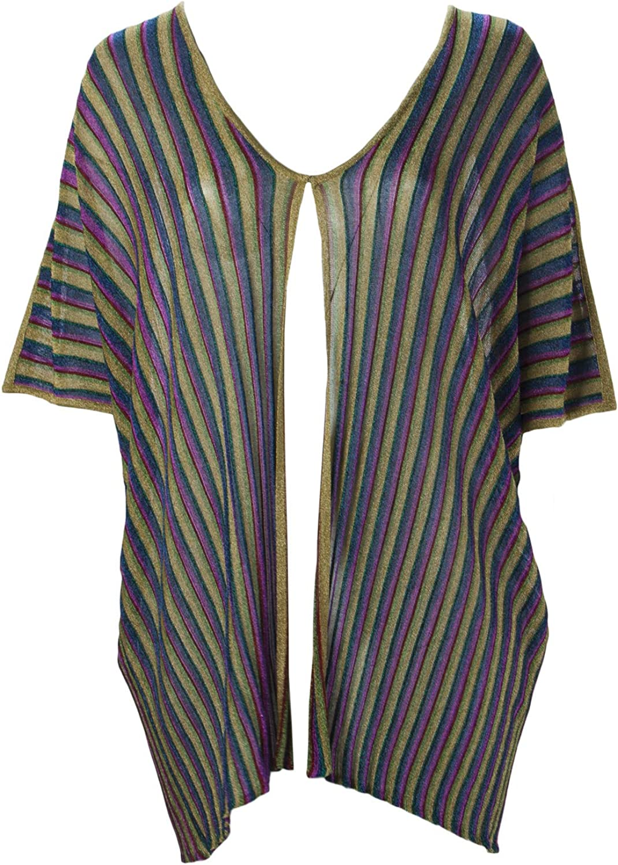 Marina Rinaldi Women's Murano Sheer Stripe Cardigan, Multicolored, X-Large