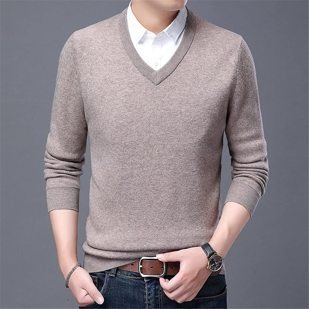 GYZX Jumper Autum V Neck Knit Chunky Knitted Pullover Sweater Men Winter Clothes (Color : Gray, Size : XXL Code)